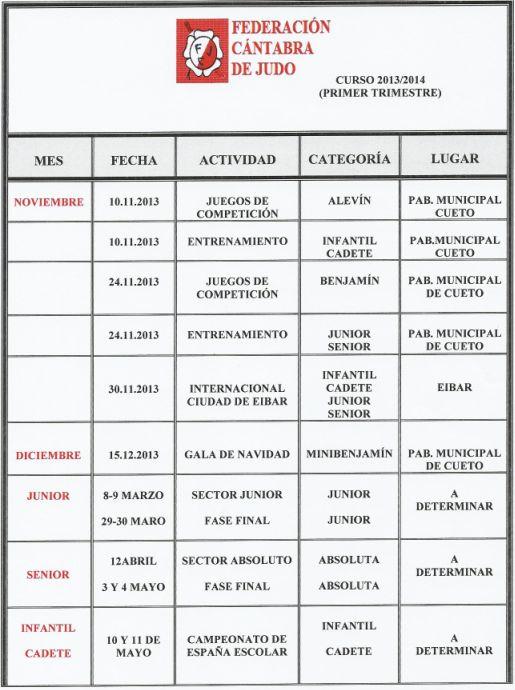 Calendario Federación Cántabra de Judo (Primer trimestre)